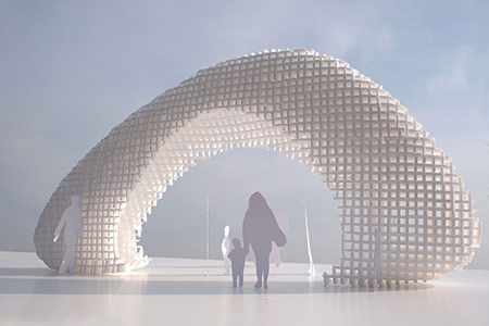 Clouds Up is a proposal for a sculptural wood gate taking inspiration from a cloud shape