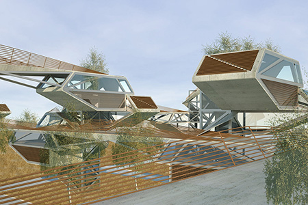 Hybrid Forest is a system of elevated urban homes with a small footprint