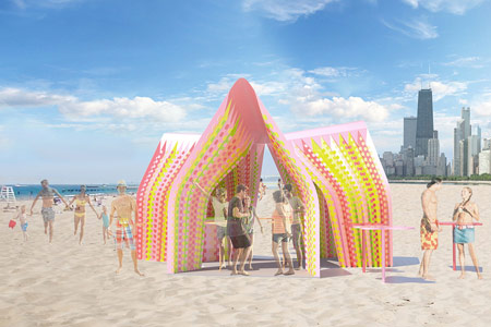 Rockin Pinata is a pavilion proposal for Chicago Biennale; a study in self-supporting system